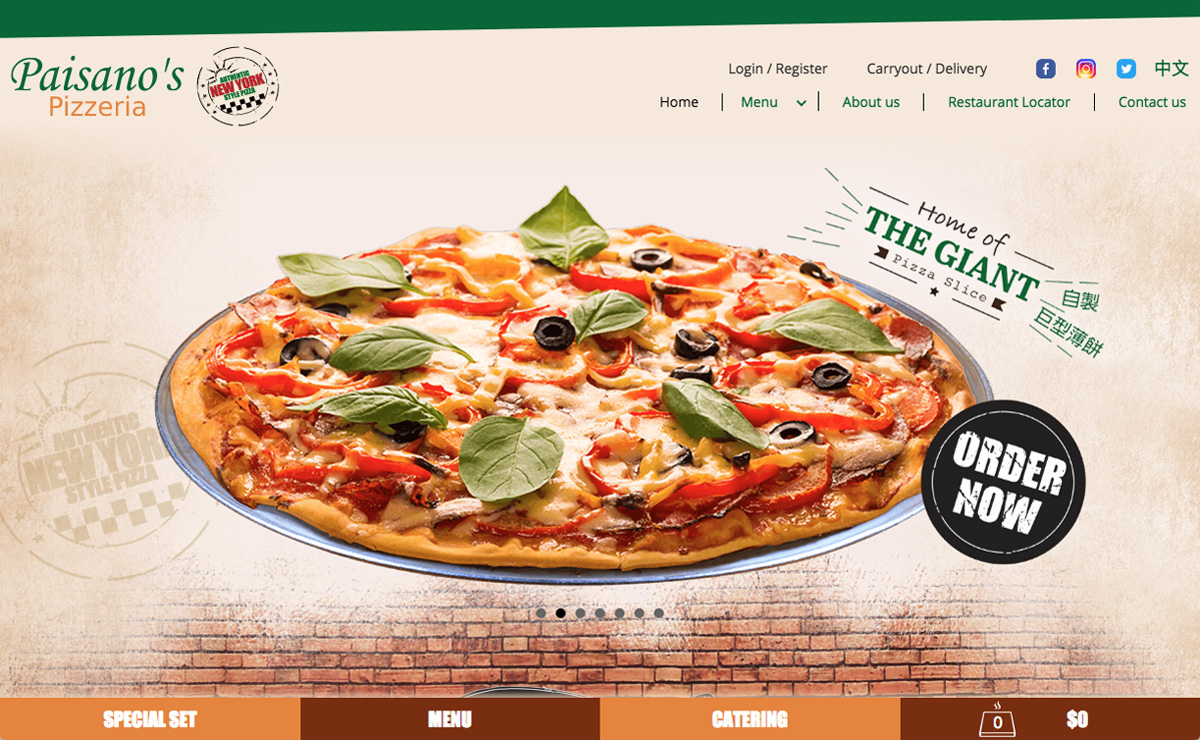 Paisano's Pizzeria Website